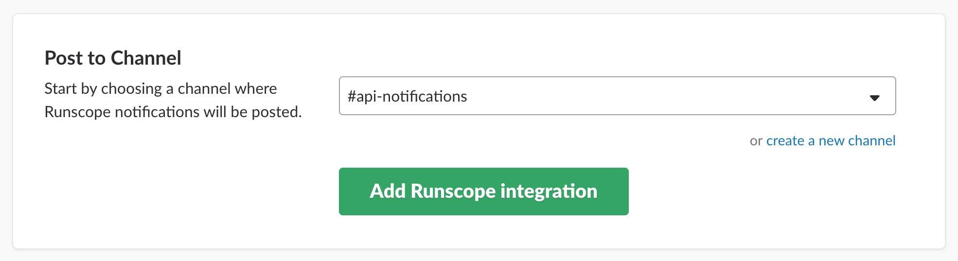 Slack App Directory website after clicking on Install on the Runscope integration page, showing a drop-down menu to select a channel.