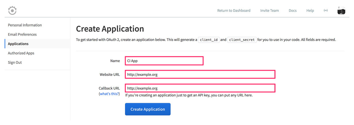 Runscope Create Application page, with the required fields containing the dummy URL http://example.org
