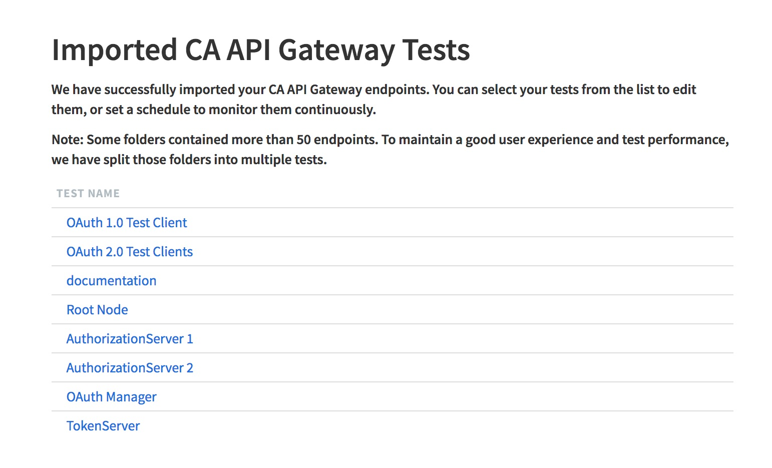 Runscope CA API Gateway import success page, showing the same folders that were selected in the previous image as succesfully imported, and linking to their Runscope tests