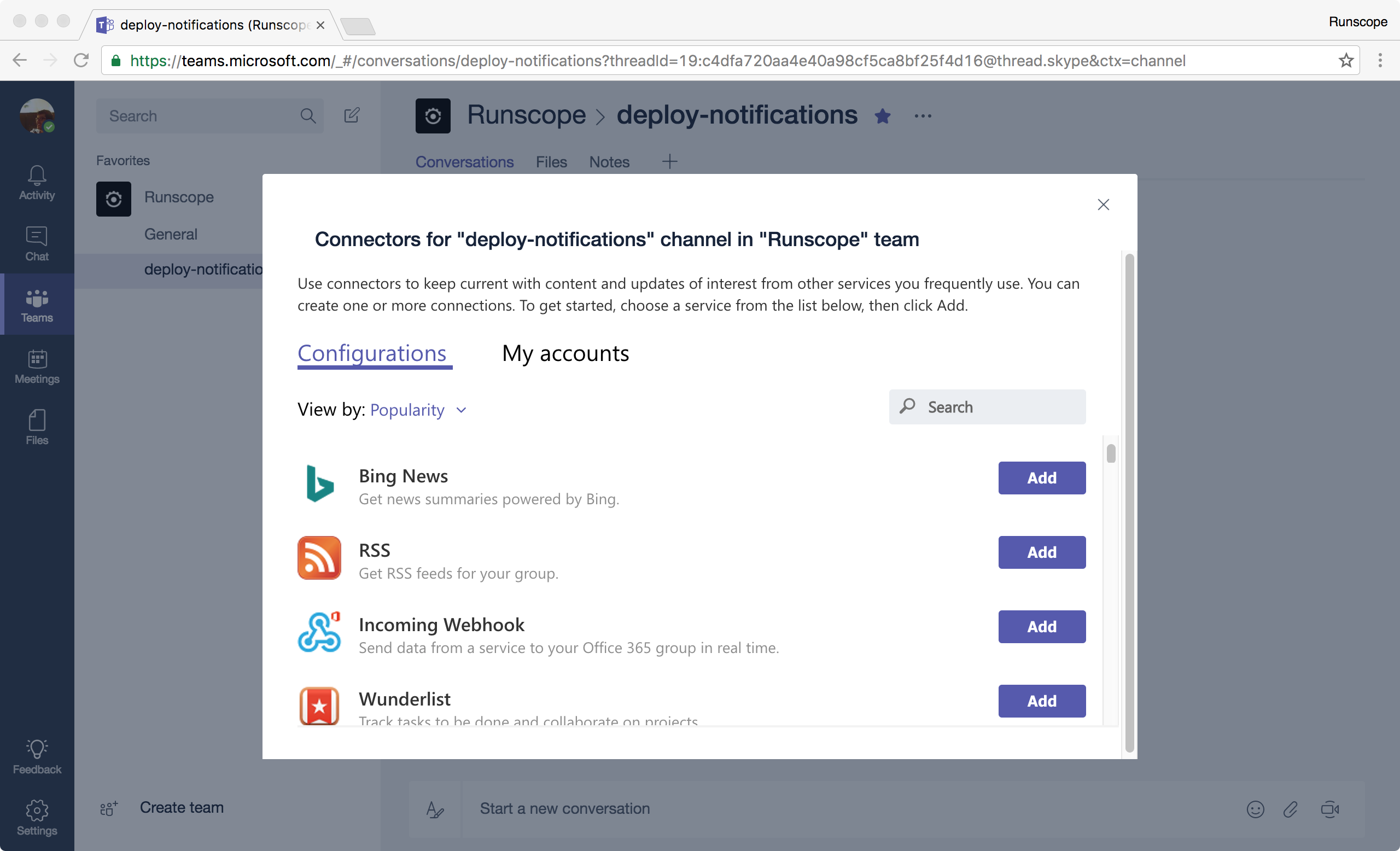 Microsoft Teams channel connectors menu