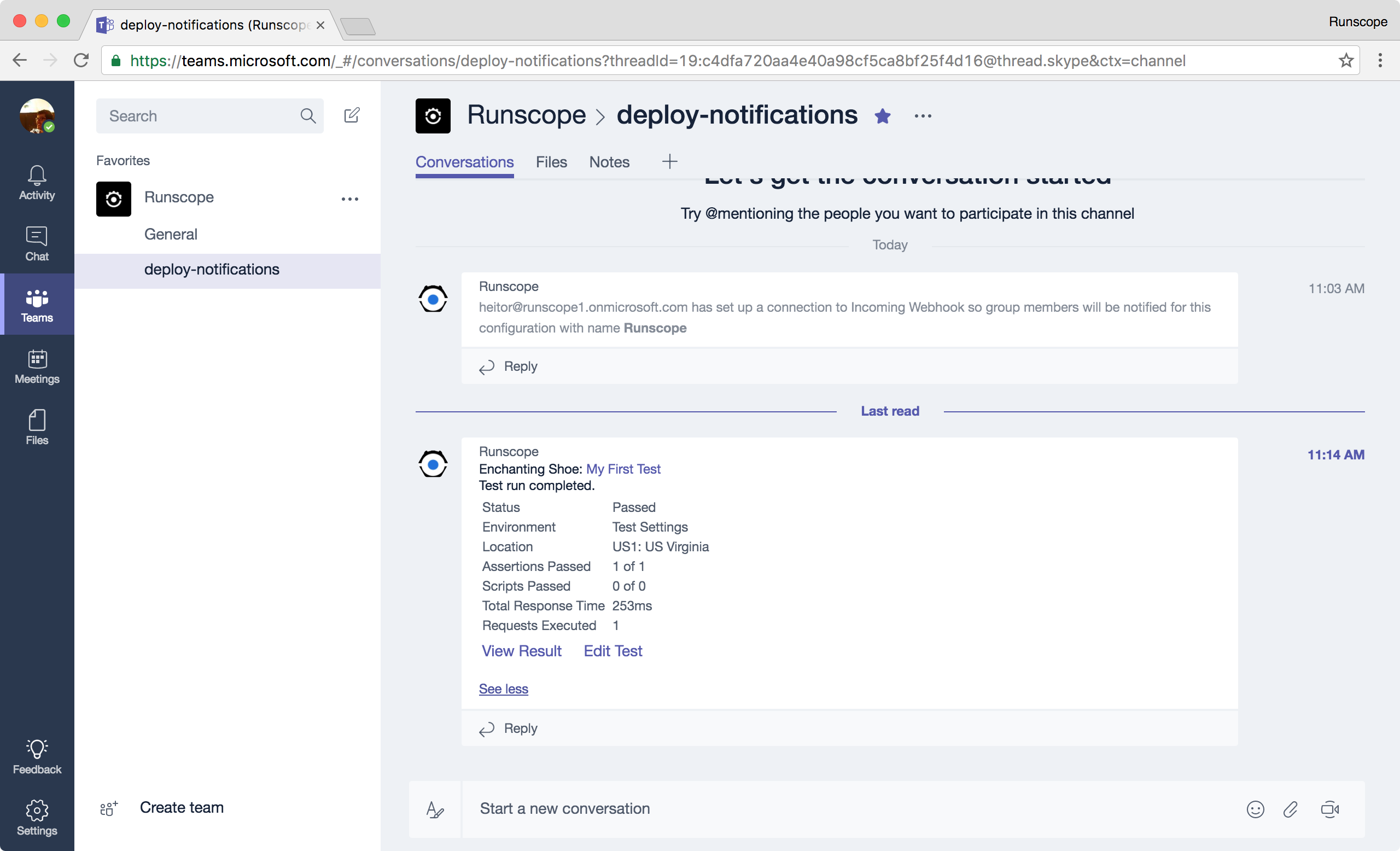 Runscope notification example on Microsoft Teams